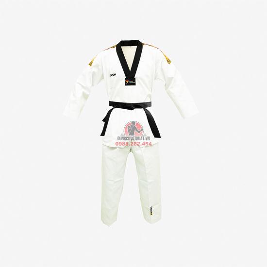 Picture of Võ Phục Taekwondo Hiệu Kwon Vải Kaki Sọc Vai Màu Vàng