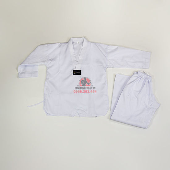 Ảnh của Võ Phục Taekwondo Vải Kaki Sọc Thông Dụng